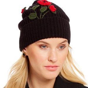 Kate Spade NEW YORK Flower Poppy black beanie hat